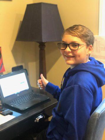 Jack Till, grade 7, is a fully virtual student.